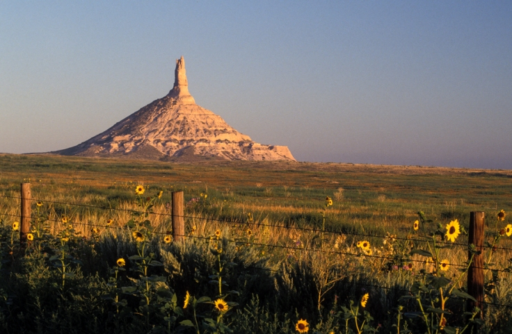 Nebraska Chimney Rock landmark along the route of the Oregon Trail