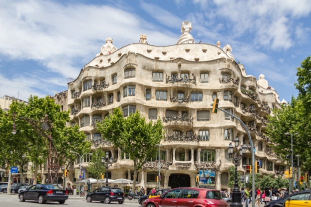 View of Casa Mila or La Pedrera, in Barcelona